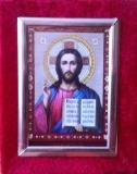 62 Икона Спасителя, настенная, отделка бархат